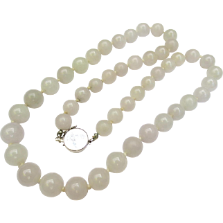 Fine Vintage Jade Bead Necklace & 14k White Gold Clasp