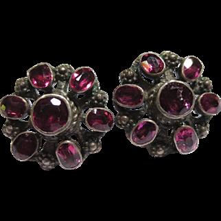 Victorian Silver Etruscan Revival Garnet Cluster Earrings