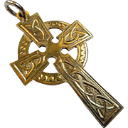 Antique 9k Gold Celtic Cross Victorian Pendant