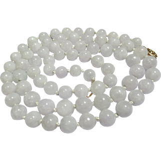 Vintage White Jade 14k Gold Beaded Necklace Strand