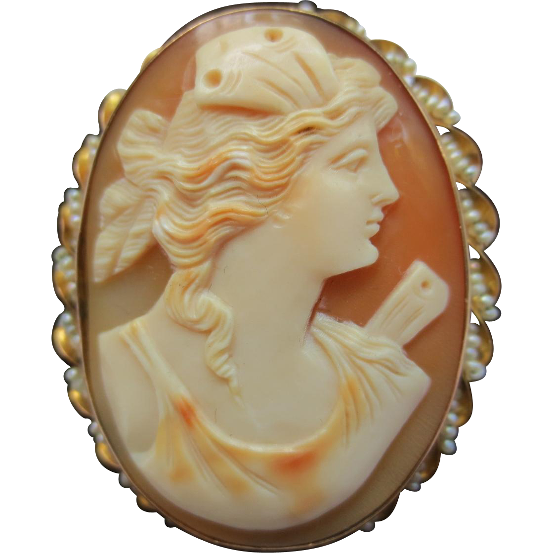 Antique 10k Gold & Seed Pearl Cameo Pendant Brooch of Goddess
