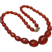 Vintage Faceted Amber Bead Necklace