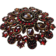 Lovely Victorian Bohemian Rose Cut Garnet Gold Vermeil Brooch