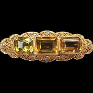 Fine 18k Yellow Gold Citrine & Diamond Brooch