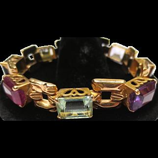 Vintage Multi Stone 14k Gold Bracelet Aquamarine, Citrine, Amethyst, Tourmaline