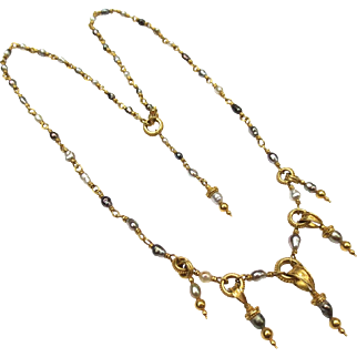 Lovely Etruscan Revival 22k Gold Pearl Necklace
