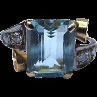 Fabulous Mid Century Aquamarine Diamond Cocktail Ring 14k Yellow & White Gold