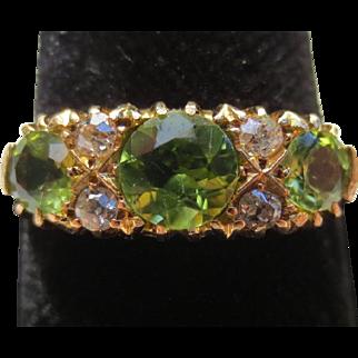 Elegant Edwardian 18k Gold Peridot & Diamond Ring