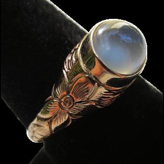 14k Gold Vintage Moonstone Floral Ring