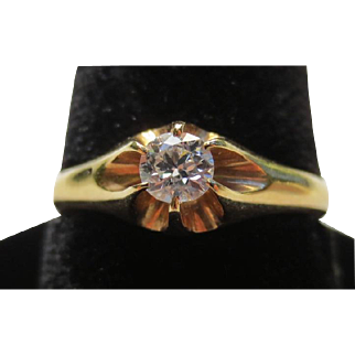 Victorian 18k Gold Diamond Solitaire Ring