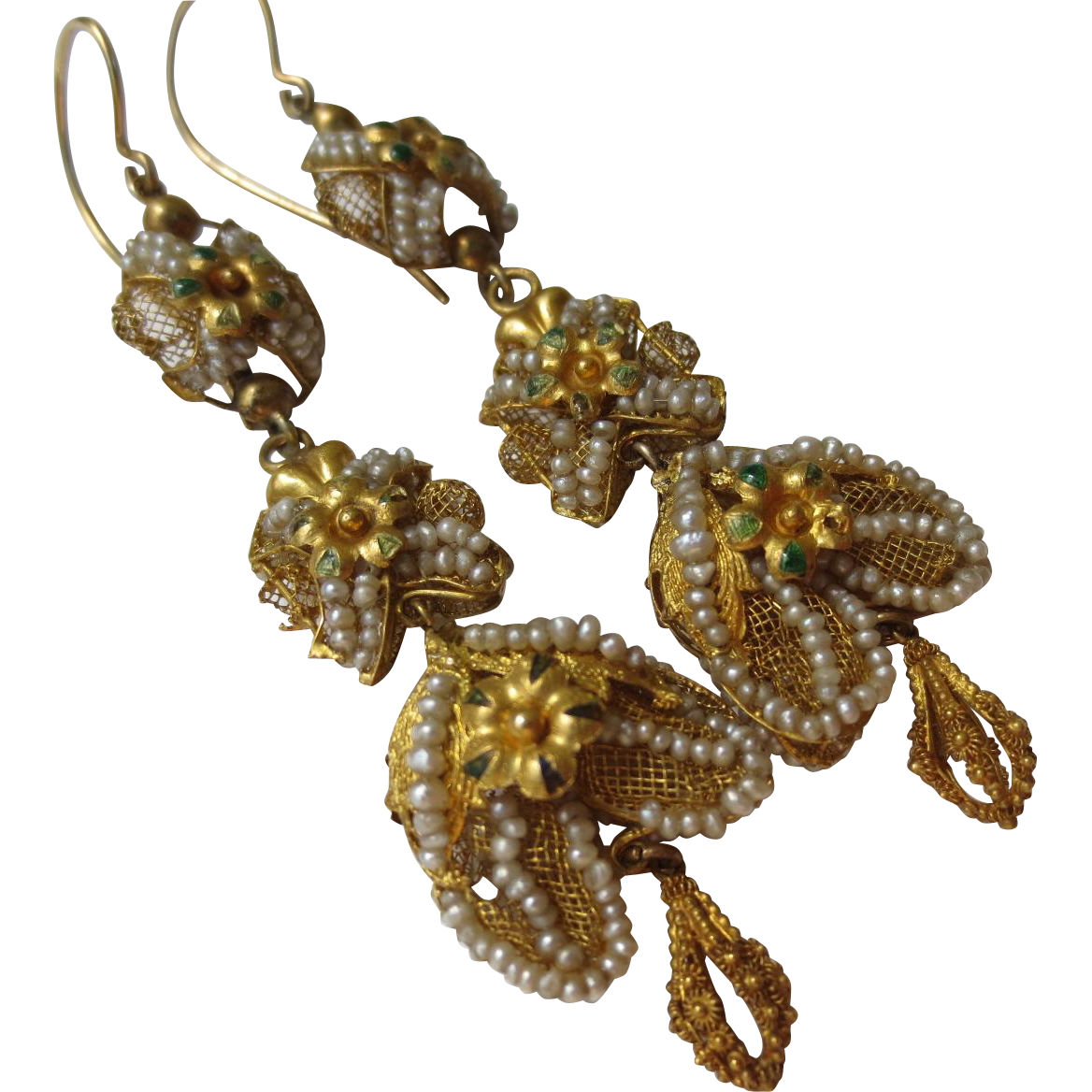 Fantastic Rare Georgian Enamel Gold & Seed Pearl Chandelier Etruscan Wedding Earrings