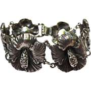 Gumps Sterling Silver Hibiscus Flower Bracelet & Earrings Set