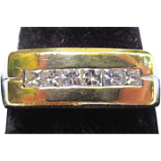 Vintage 18k Gold & Diamond Mens Ring