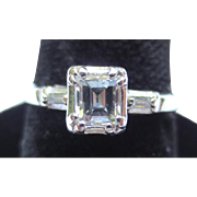 Lovely Emerald Cut Diamond 14k White Gold Engagement Ring
