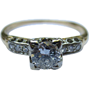 Vintage 14k & 18k Gold Diamond Engagement Ring