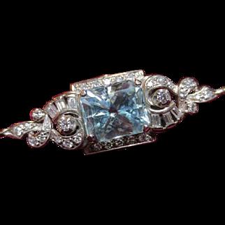 Vintage 14k White Gold Aquamarine & Diamond Pendant Chain Set