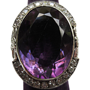 Edwardian 14k White Gold Amethyst & Diamond Cocktail Ring