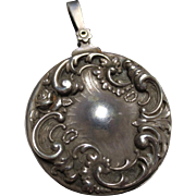 William B. Kerr Sterling Silver Art Nouveau Slide Locket with Flowers