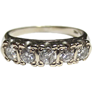 Mid Century Vintage 14k White Gold Diamond Row Ring