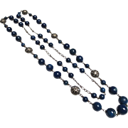 Art Deco Sterling Silver Long Beaded Necklace