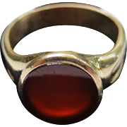 Classic 14k Gold Mens Carnelian Signet Seal Ring