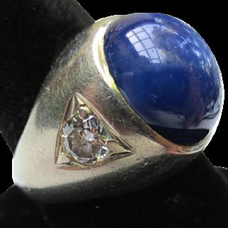 Classic 14k White Gold Star Sapphire & Diamond Vintage Ring