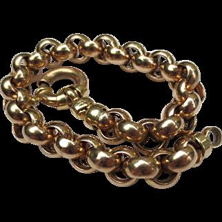 Fantastic Fine Italian 14k Gold Large Belcher Chain Link Bracelet