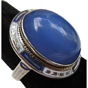Art Deco 14k Gold Enamel Chalcedony Ring