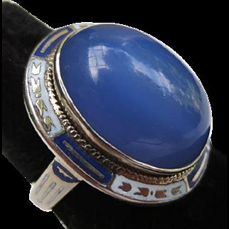Art Deco 14k Gold Enamel Chalcedony Ring