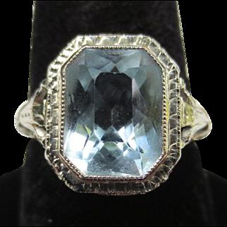 Vintage 18k White Gold Filigree Aquamarine Ring