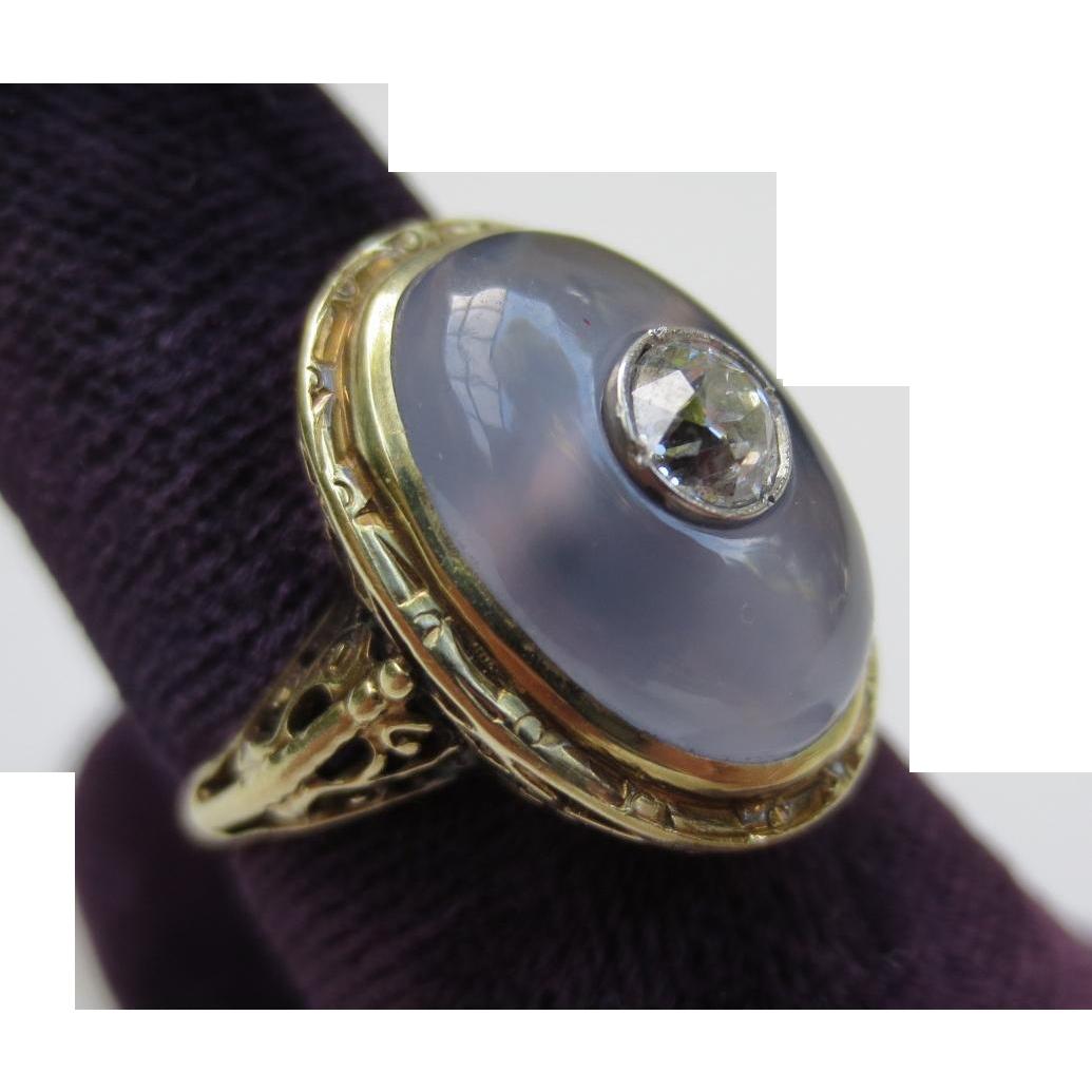 Stunning Chalcedony & Diamond Edwardian 14k Gold Ring