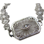 Art Deco Camphor Glass Diamond 14k White Gold Filigree Bracelet