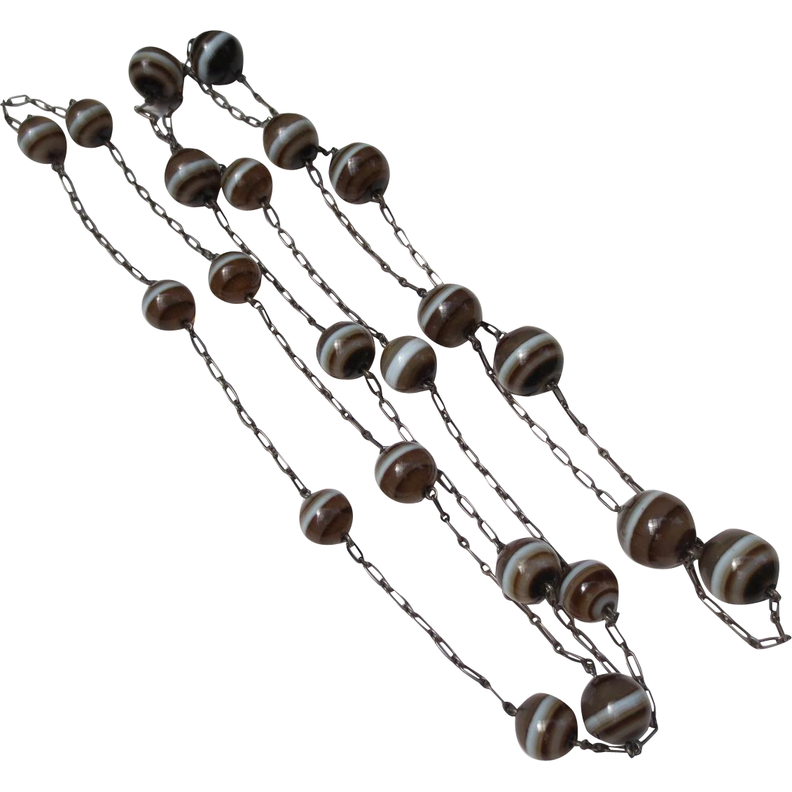 Fabulous Scottish Banded Agate Edwardian Sterling Silver Deco Bead Strand