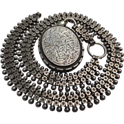 Victorian Silver Book Chain Stars and Cannon Engraved Bird Locket