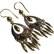 14K Gold Chandelier Floral Victorian Earrings