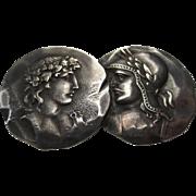 "George W. Shiebler Victorian Sterling Silver Medallion Etruscan ""Homeric"" Roman design Brooch"