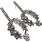 Vintage 14k White Gold Diamond & Ruby Wreath Drop Earrings