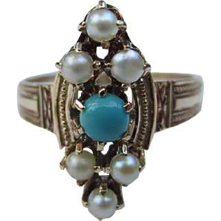 Antique Persian Turquoise & Pearl 10k Gold Victorian Ring