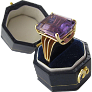 1940's Era Amethyst Ring in 14 Karat Yellow Gold, Size 6+