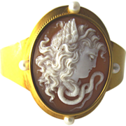 Victorian Cameo Bracelet Etruscan 14K Yellow Gold and Natural Pearls Medusa & Snake
