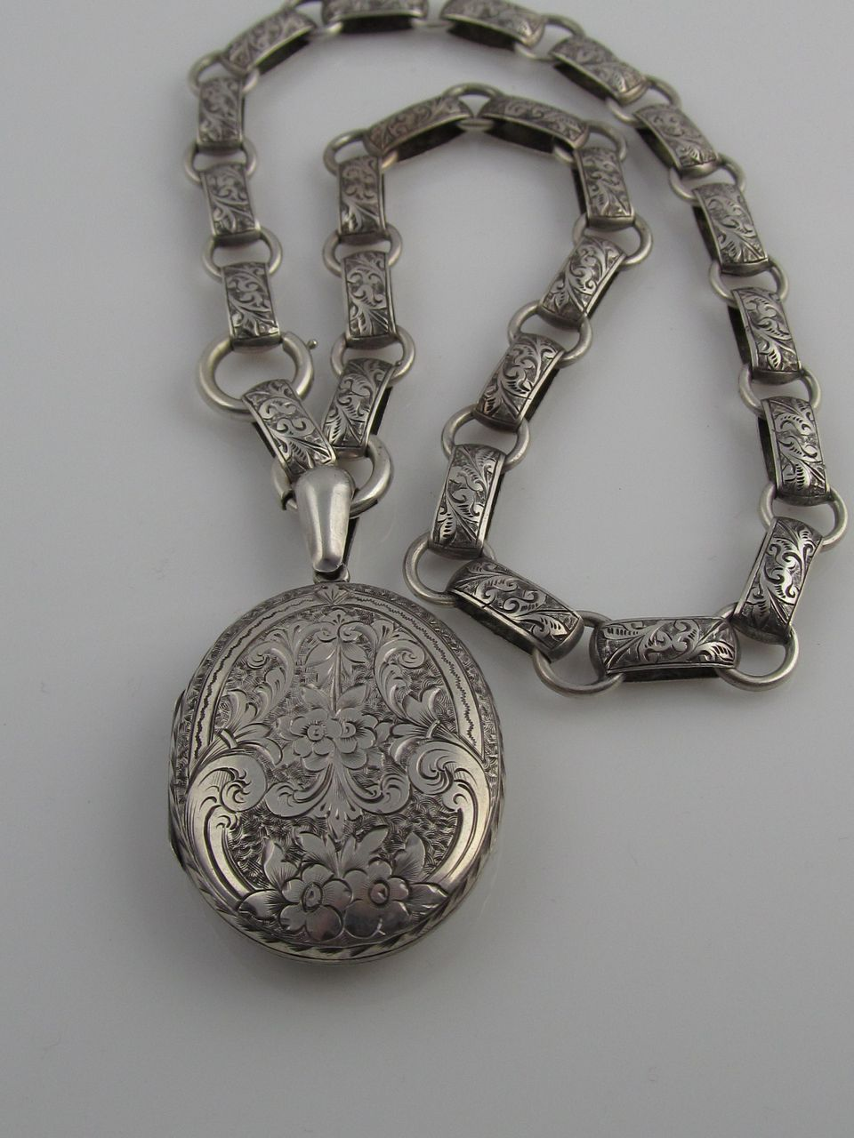 Victorian Hand Engraved Sterling Silver Locket with Original Book Chain
