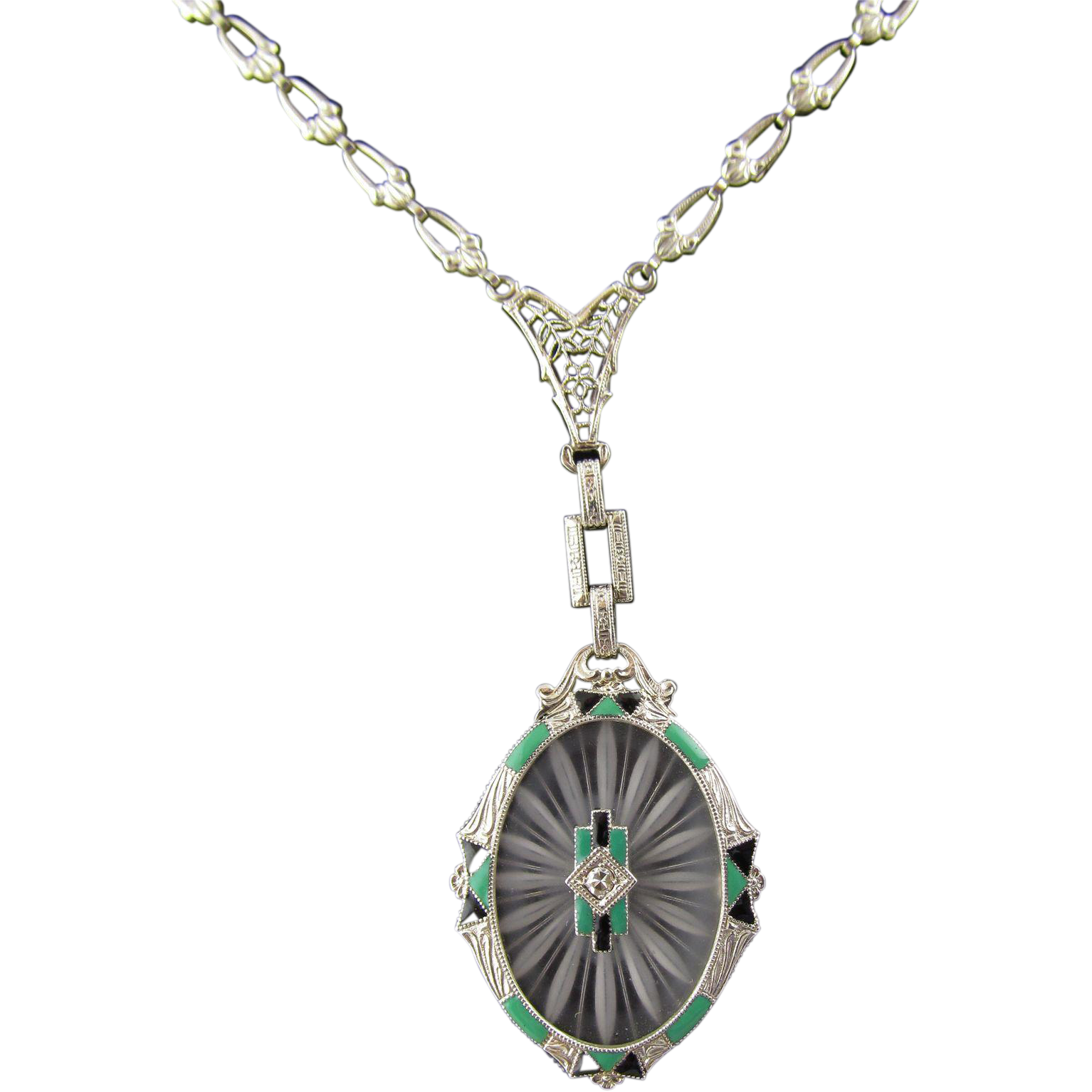 1920's Art Deco Enamel Camphor Glass Necklace, 14 Karat White Gold