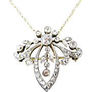 Edwardian Old European Cut Diamond Pendant / Brooch Circa 1910