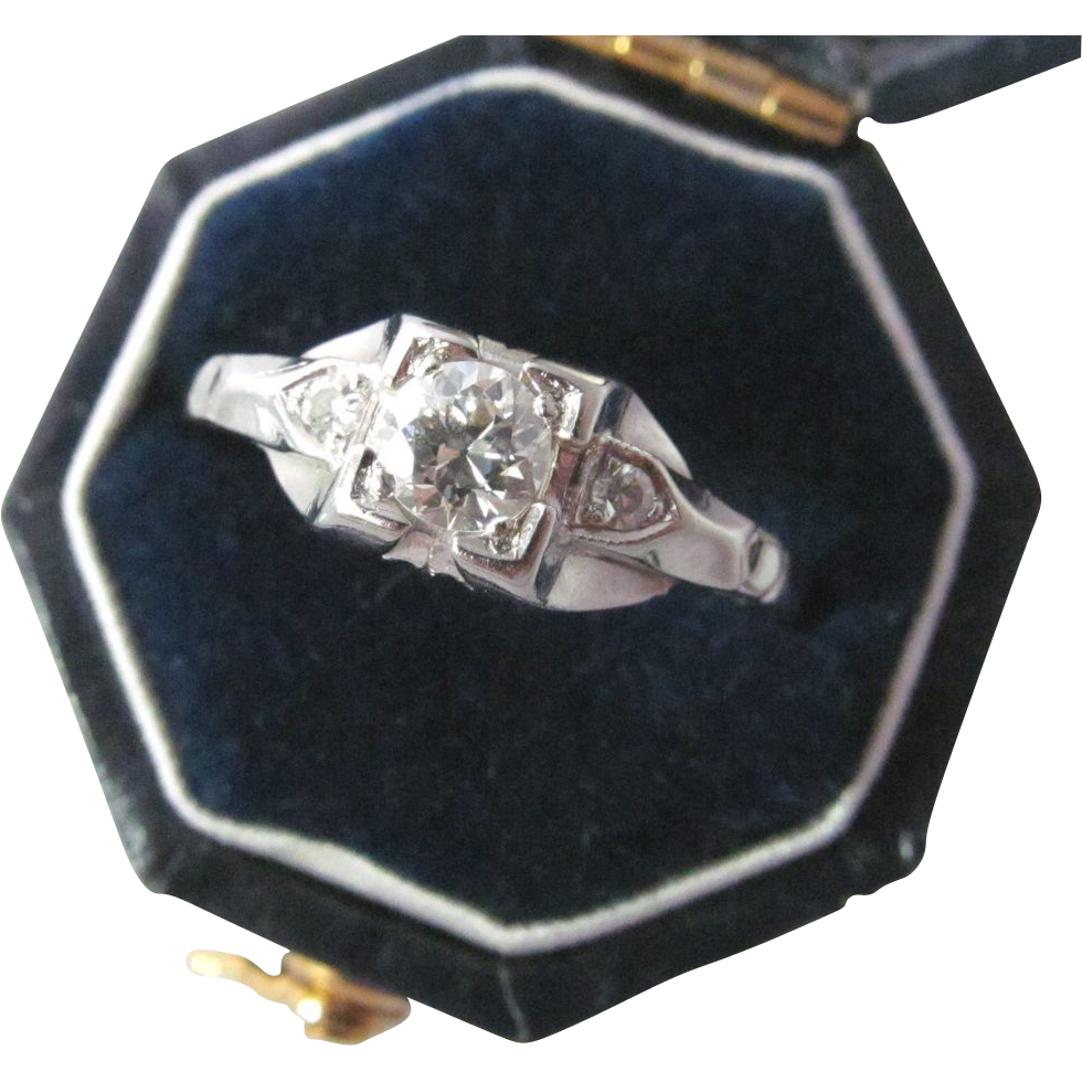 Vintage old european cut diamond ring art deco from for European art deco