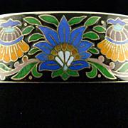 Vienna Enamel Hinged Bangle Bracelet Circa 1890 Victorian Era / Gilt Silver