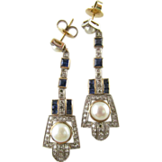 Art Deco 18 Karat Sapphire, Pearl, and Diamond Drops Circa 1930