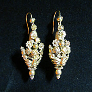10 Karat Yellow gold Victorian Repousse Earrings for Pierced Ears