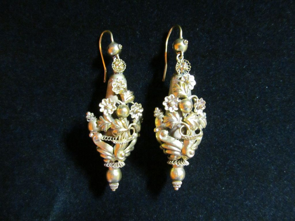 10 Karat Yellow Gold Victorian Repousse Earrings For Pierced Ears
