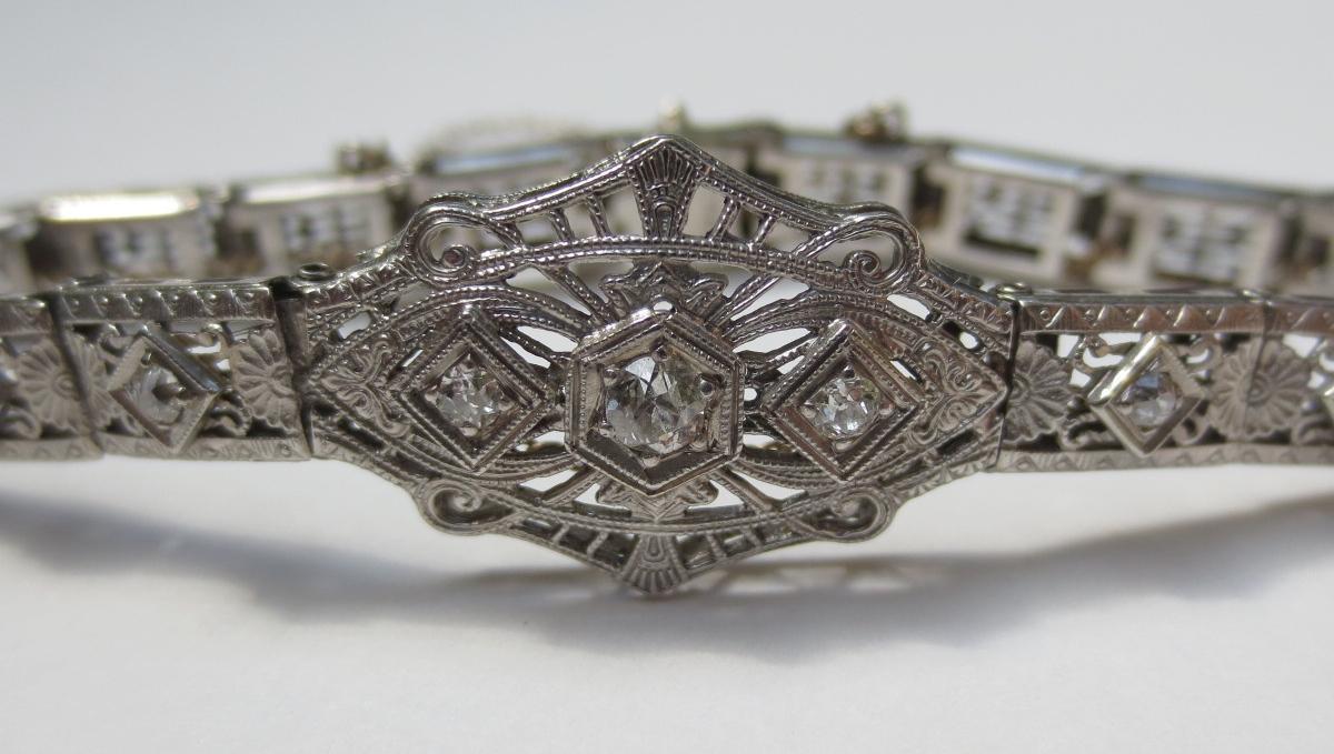 1920's Filigree Bracelet 14K/Plat Top with Old European Cut Diamonds