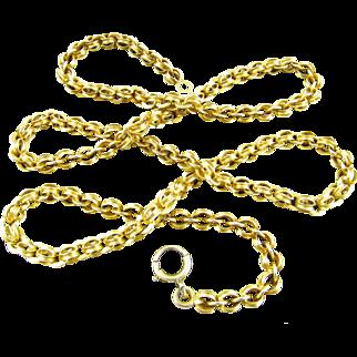Antique Victorian Era 14 Karat Yellow Gold Neck Chain, Necklace (22.5 inches long)
